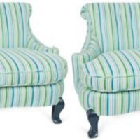 One Kings Lane - Chic Shop by Hillary Thomas - 1960s Blue & Green Striped Chairs, Pair