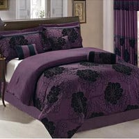 New Black Purple Retro Bedding Micro fiber Comforter set - Full Queen King Curts