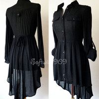 NEW Black Button Down Long Sleeve High Low hi lo Hemline Tunic Top Shirt Dress