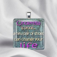 Cinderella Shoes Glass Tile Pendant by izzysplace on Zibbet