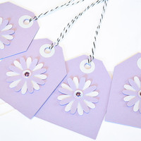 Gift Tags - 6 Grape Sorbet Glitter Paper Flowers with Vintage Sequins