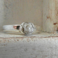 Snow white- Raw Rough Diamond - Solitaire-pave set- promise-one of a kind engagement ring