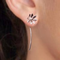 925 Wild flower long stem - sterling silver earrings studs - unique, Jewelry gift for girlfriend 102412