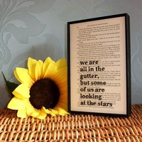 Oscar Wilde Inspirational Quote And Star Original Framed Altered Book Art | Luulla