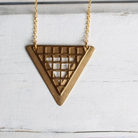 Geometric Triangle Necklace  Vintage Grid by SilkPurseSowsEar