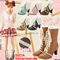 Rakuten: [7cm heel ♪ 2way back boa race up bootie DZ-12-E-08|] P]It has been had ◆- Shopping Japanese products from Japan