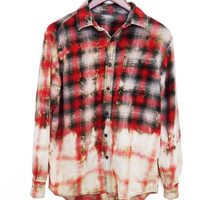 Grunge Flannel Shirt (Bleached, Refashioned, Upcycled, Vintage)
