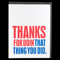 Swiss Type thank you card