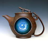 Blue Moon Teapot Handmade Stoneware Teapot by ocpottery on Etsy