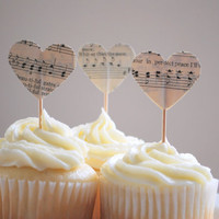 12 Heart Cupcake Picks, made from vintage music