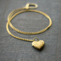 Vintage Heart Locket Necklace Simple Brass Nostalgic by contrary