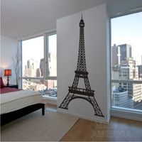 Free Shipping - Wall Decal - Eiffel Tower 8 Feet Tall Highly Detailed  - Vinyl Wall Art Decals