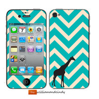 Iphone 5 4 4s Skin - Chevron Pattern -decal sticker