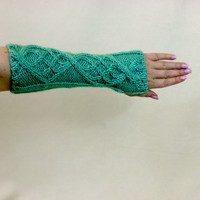 Fingerless Gloves Mint Green Long Cable Knit Arm Warmers