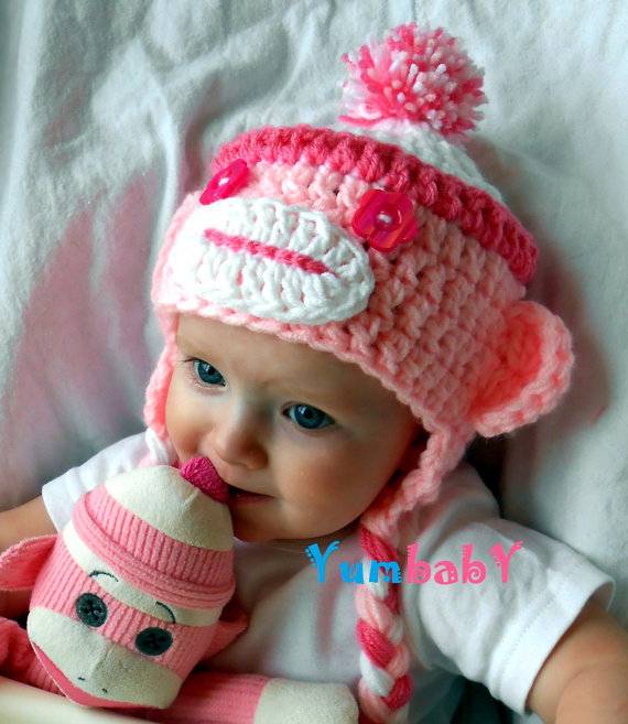 Baby Hats Sock Monkey Hat Pink Monkey from YumbabY | Things I