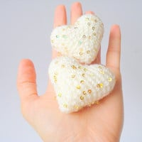 Wedding Cake Topper, Crochet Hearts, Cake Toppers, For Valentine  (Set of 2)