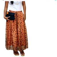 Valentine Sale Matching Set Maxi Skirt and Clutch,  Chiffon Skirt and Dark Blue Silk Clutch
