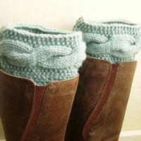 Winter 2013 Mint Boot Cuffs - Handknit Mint Leg Warmers - Cable knit boot toppers - WINTER SALE - pastel mint green