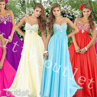 New Charming beads strapless Bridesmaid Prom Cocktail Party Evening long Dress