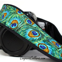 Peacock dSLR Camera Strap, Feathers, Teal, Green, Aqua, Gold,  SLR