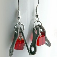 cycling red glass bicycle chain earrings bike jewelry