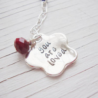 You are loved phone ipod mp3 accessory with crimson red glass bead