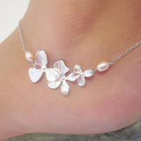 Silver 3 orchid and peach pearl adjustable by jmesjewelrybox