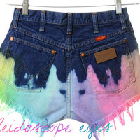 Vintage Wrangler High Waist RAINBOW OMBRE Dyed Denim Cut Off Shorts S M
