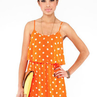 Polka Dot Tier Dress in Orange Sherbet :: tobi