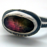 Rose Cut Watermelon Tourmaline Ring in Sterling Silver