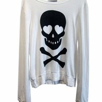 Wildfox Love Bones Baggy Beach Jumper in White
