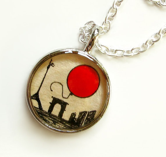 Le Ballon Rouge Hand Painted Necklace Charm The by TuckooandMooCow