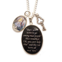 Alice in wonderland necklace Cheshire cat We're all by LunarraStar