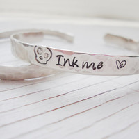 Ink me tattoo hammered hand stamped silver cuff
