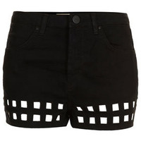 Cut Out Hem Denim Shorts