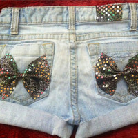 Low rise Marley Bow distressed shorts  by AngeliqueMerici on Etsy