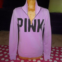 VS PINK Logo V Neck Sweatshirt PURPLE Track Jacket LAVENDAR Victoria's Secret S