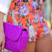 RESTOCK Brightest Bouquet Shorts: Neon Orange | Hope&#x27;s