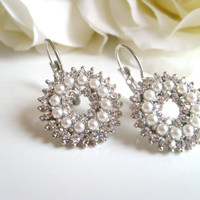 Art deco crysstal rhinestone rhodium plated leverback earrings wedding jewelry bridal jewelry birthday gifts
