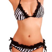 Amazon.com: Cloris Murphy String Zebra Bikini w/ Ruffle Black Lace Trim Scrunchie Butt Bathing Suit BN501ZBWT One Size Zebra: Clothing