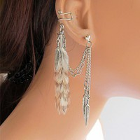 Original Handmade Ear Cuff Grizzly Feather Double Chain