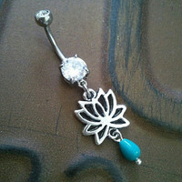 Lotus Belly Button Ring Jewelry Turquoise Flower by Azeetadesigns