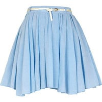 Blue chambray belted skater skirt