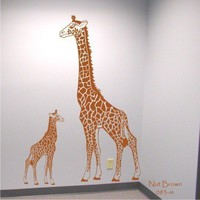 Free Shipping - Mother Giraffe and Baby Vinyl Wall Art Decal Sticker Graphics