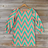 Cucumber Melon Chevron Dress, Sweet Women&#x27;s Bohemian Clothing