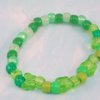 Green Butterfly Beaded Stretch Bracelet Small