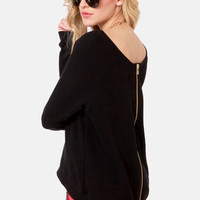 Obey Lexington Zipper-Back Black Sweater