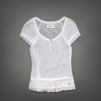 NWT Abercrombie & Fitch Womens Sheer Ruffle Blouse Ashley Shirt Top.Size XS.$58