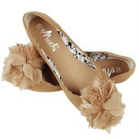Machi Camel Patent Flat Bow Ballerina Flats and Womens Fashion Clothing & Shoes - Make Me Chic
