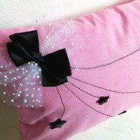 Pink decorative cover for pillows 'stars' - 20 x 12 inch